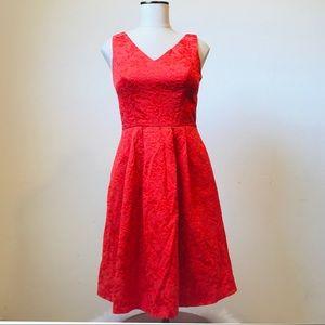 ELLEN TRACY Bright Floral Brocade Red/Orange Dress